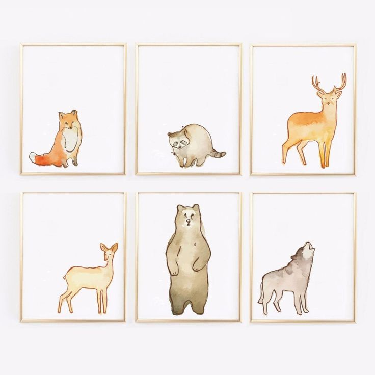 Woodland Watervolor Animal Prints - Set of 6 Nursery Prints