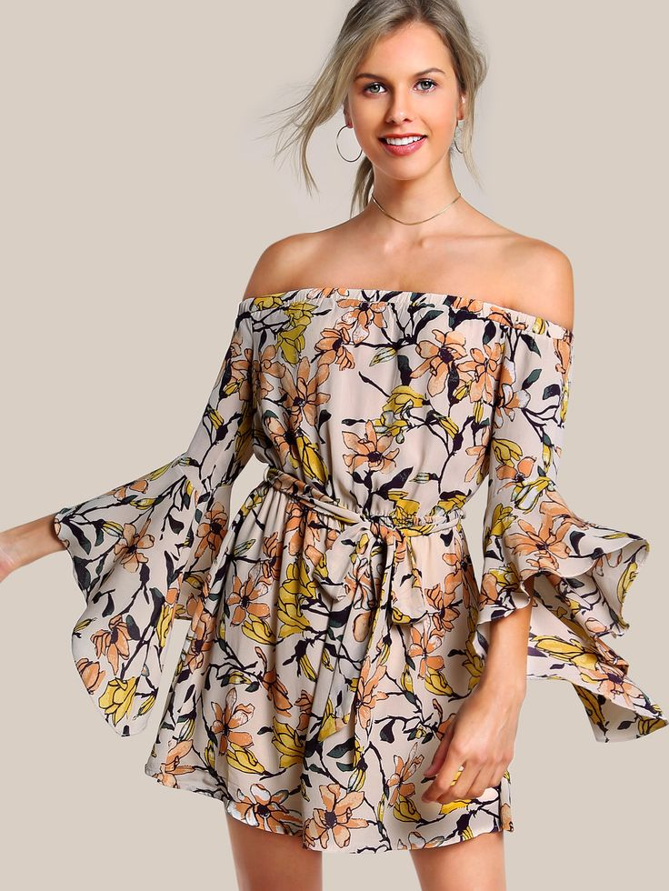 Shop Off Shoulder Quarter Sleeve Floral Dress APRICOT online. SheIn offers Off Shoulder Quarter Sleeve Floral Dress APRICOT & more to fit your fashionable needs.
