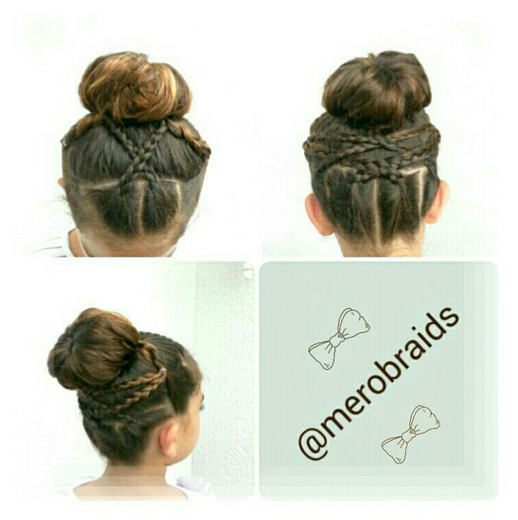 Sock bun with micro frenchbraid accent | Gymnastics