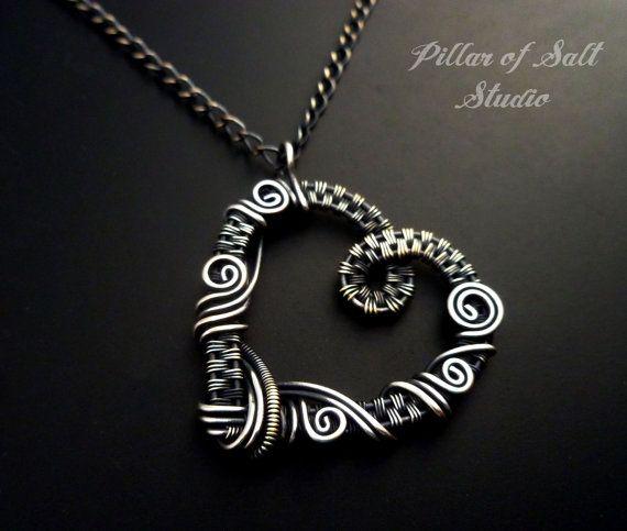 Silver heart necklace Wire wrapped jewelry by PillarOfSaltStudio