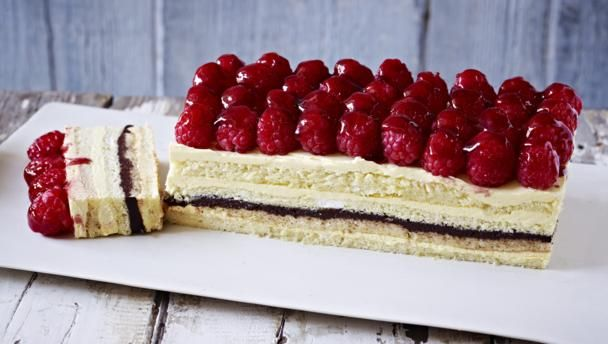 A joconde sponge is a decorative almond-flavored sponge cake made in layers. Opéra gâteau is an elaborate version of it, here made with kirsch syrup and a chocolate ganache.  Equipment and preparation: You will need a 33x23cm/13x9in Swiss roll tin and a free-standing food mixer.