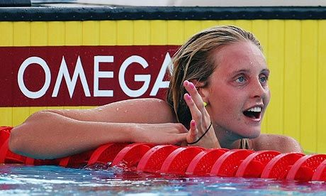 Fran Halsall celebrates finishing second in the Women's 100m Freestyle Final during the Fina World Championships in 2009. Photograph: Clive Rose/Getty Images