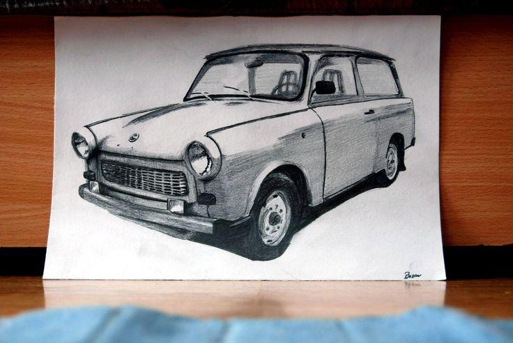 trabant  kombi  draw art zeichnungen zeichnen es geschenke
