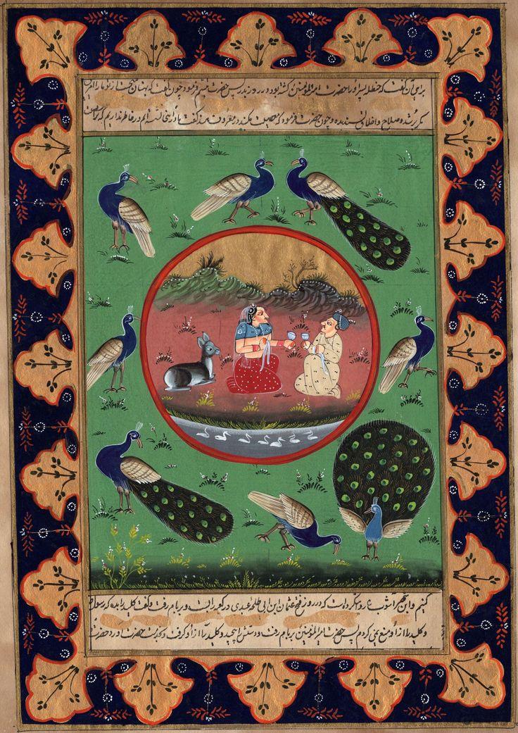 Mughal Art Handmade Moghul Illuminated Manuscript Miniature Flora Fauna Painting