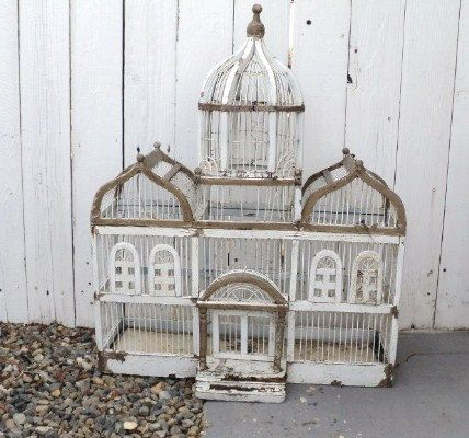 SALE Vintage Wooden Bird Cage white chippy Paint Victorian Shabby Chic Mansion Bird House #декор