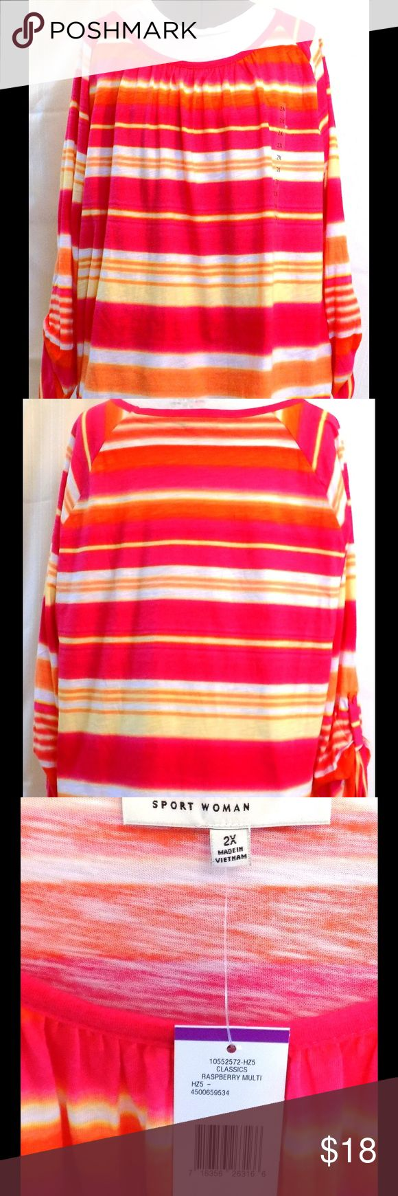 "Jones New York Pink Stripe Blouse Plus Size 2X Cotton pullover, 3/4 raglan sleeves with button band to shorten. Bust 50"", back length 25"". Excellent condition. Jones New York Tops Blouses"