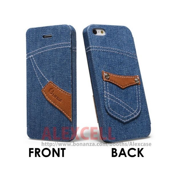 Denim Jeans Flip case for Iphone 5/5s Classic Cut (get 1 plastic case free)