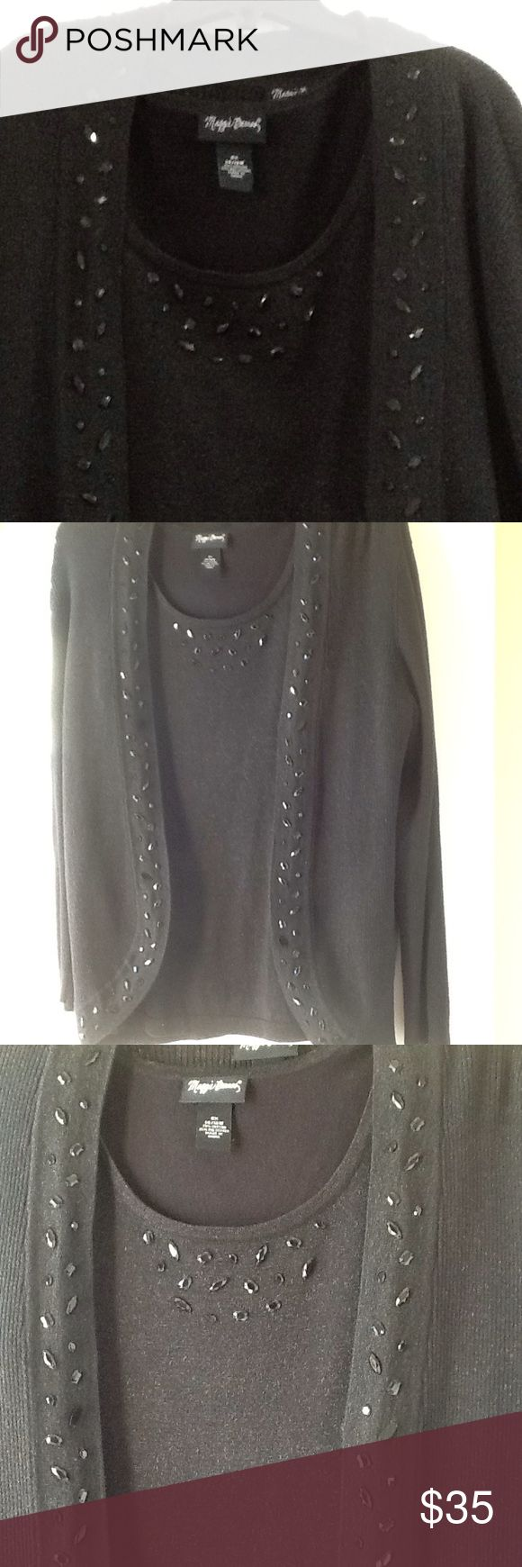 Maggie Barnes Jeweled blouse cardigan set Maggie Barns Jeweled black metallic blouse  cardigan set, worn once, 75% cotton, 25% polyester Maggie Barnes Tops