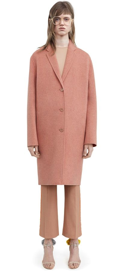 Avalon doublé rose melange masculine tailored long coat #AcneStudios #PreFall2016