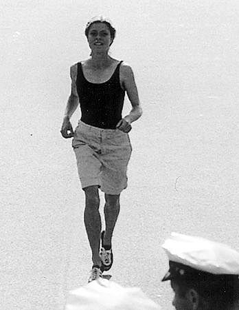 Bobbi GIbb, the first woman to run the Boston Marathon, done in 1966. Despite her training, she had to fight to the finish.  She finished in 3 hours, 21 minutes, 40 seconds, in 126th place out of 540 entrants.