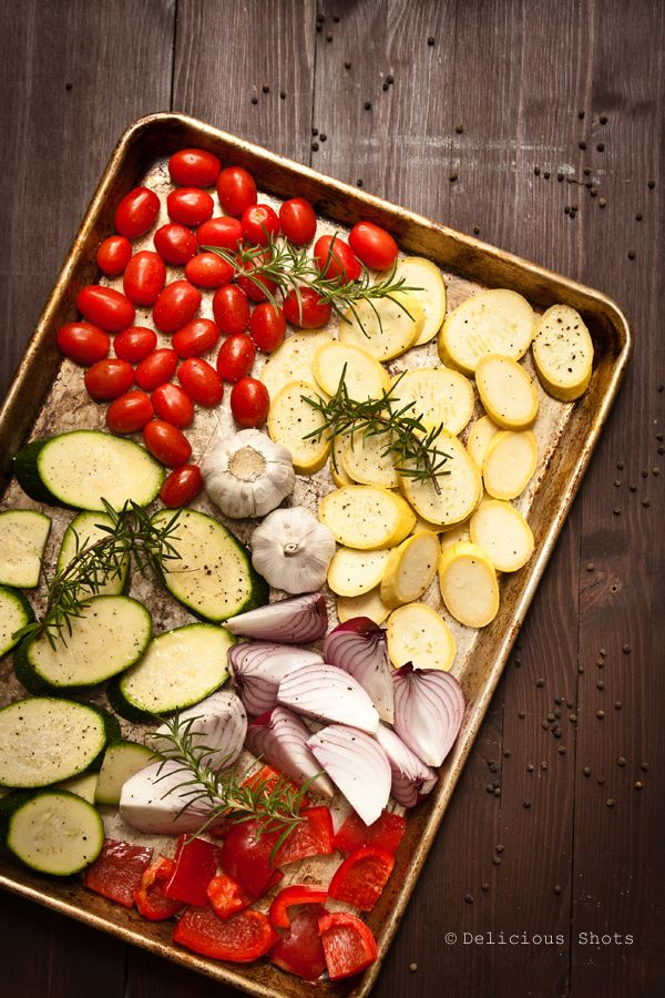 Roasted Summer Vegetables Ingredients: 1 large zucchini, cut into 1 inch slices 1 large yellow summer squash, cut into 1 inch slices 1 pint cherry tomatoes 2 heads of garlic 2 red onions, quartered  1 red bell pepper, cut into 1 inch pieces salt and pepper 1/4 cup olive oil few rosemary sprigs   Preheat the oven to 400 F. Toss all the ingredients and arrange them in a baking sheet making sure they are in a single layer. Roast for 30 minutes or until veggies are tender.