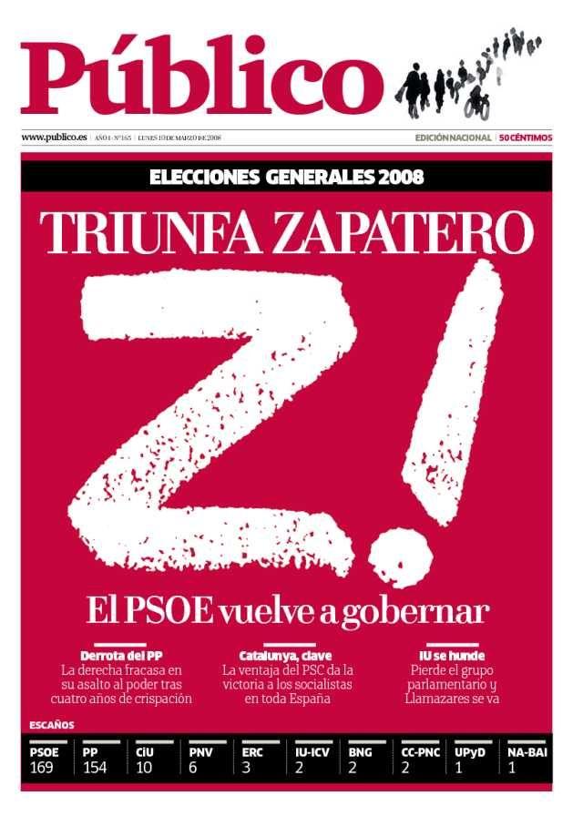 portadas diario público Triunfo de Zapatero en las elecciones generales de 2008