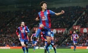 Lee Chung-yong celebrates scoring for Crystal Palace against Stoke City in December 2015.