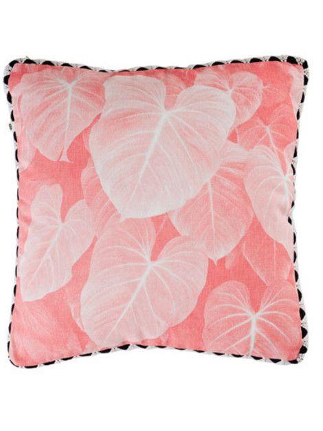 Dusky pink jungle leaf cushion