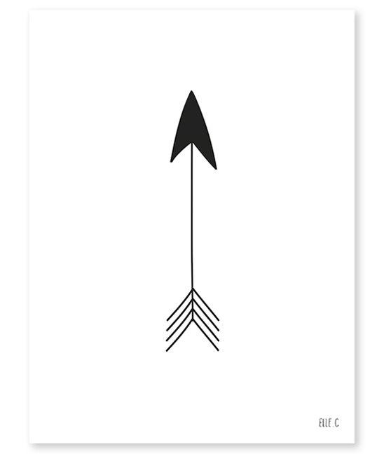 Affiche noir et blanc chambre enfant fleche Lilipinso