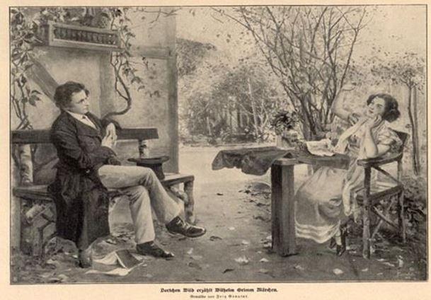 Engraving of Dortchen Wild and Wilhelm Grimm