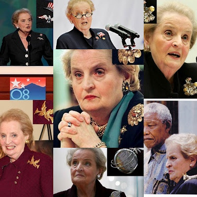 "Albright, Madeleine ""Read My Pins"" Harper, 2009. Biography from US State Department http://secretary.state.gov/www/albright/albright.html, ""Pin-up World"", Chicago Time Out, 2009 http://timeoutchicago.com/arts-culture/books/69248/pin-up-world ""Madeleine Albright - Read My Pins"" Deleuse Jewelers, 2011 http://www.deleusejewelers.com/history/521/"