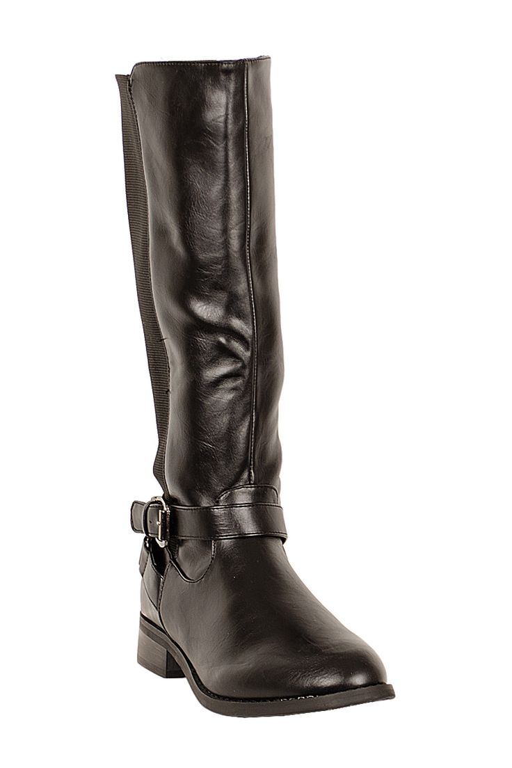 Shakira Side Buckle Elasticated Knee Boots Black http://www.fuchia.co.uk/products/footwear/boots/shakira-side-buckle-elasticated-knee-boots-black.aspx