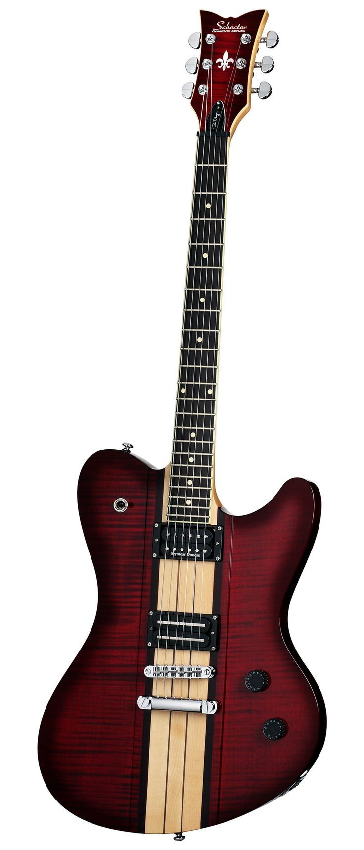 Schecter Dan Donegan Signature Guitar, Ultra DD. Mahogany Body with flame maple wings and raised center. Seymour Duncan Custom Shop El Diablo/Schecter Diamond Plus . TonePros Tune-O-Matic System. Schecter Locking Tuners. Chrome Hardware.