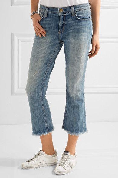Current/Elliott - The Cropped Flip Flop Frayed Low-rise Flared Jeans - Mid denim - 28