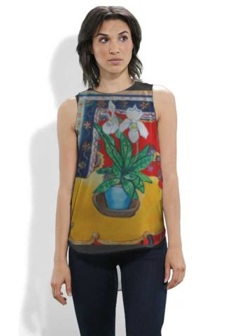 One of my paintings on a silk tee at http://shopvida.com/collections/voices/lorna-robinson