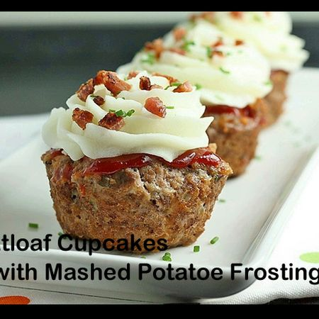 Meatloaf Cupcakes with mashed potato frosting.  Bacon, cheese and chives as the sprinkles!
