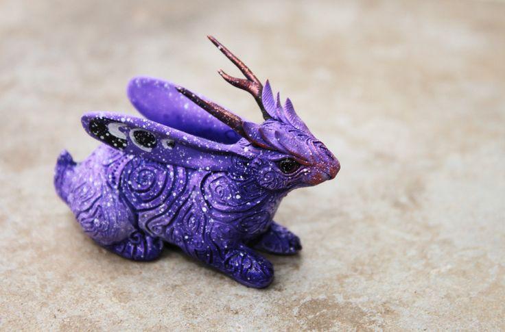 Jackalope Rabbit Hare Figurine Totem fantasy animal skulpture, purple lavender clay. $65.00, via Etsy.