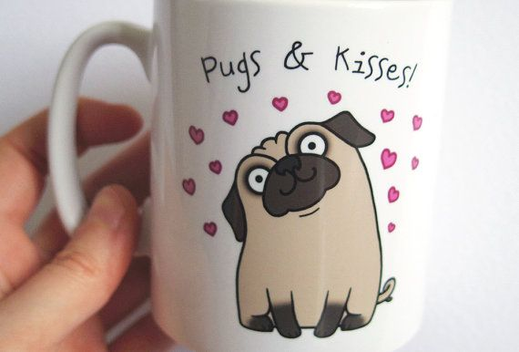 Hey, I found this really awesome Etsy listing at https://www.etsy.com/listing/117135035/pugs-and-kisses-mug