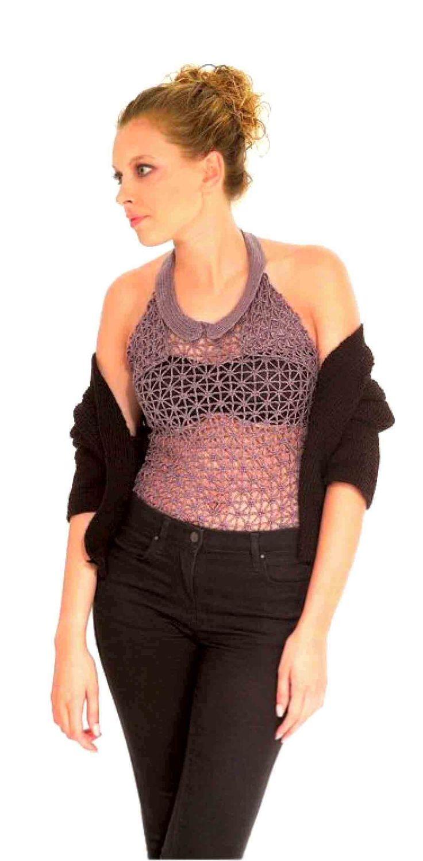 """винтаж, винтажное вязание, блузка фронтальная, блузка с воротником """"халтер"""", блузка с открытой спиной, Вязание крючком, вязание спицами, вяжем вместе, вяжите с нами, вязание для женщин, модели вязаной одежды для женщин"""