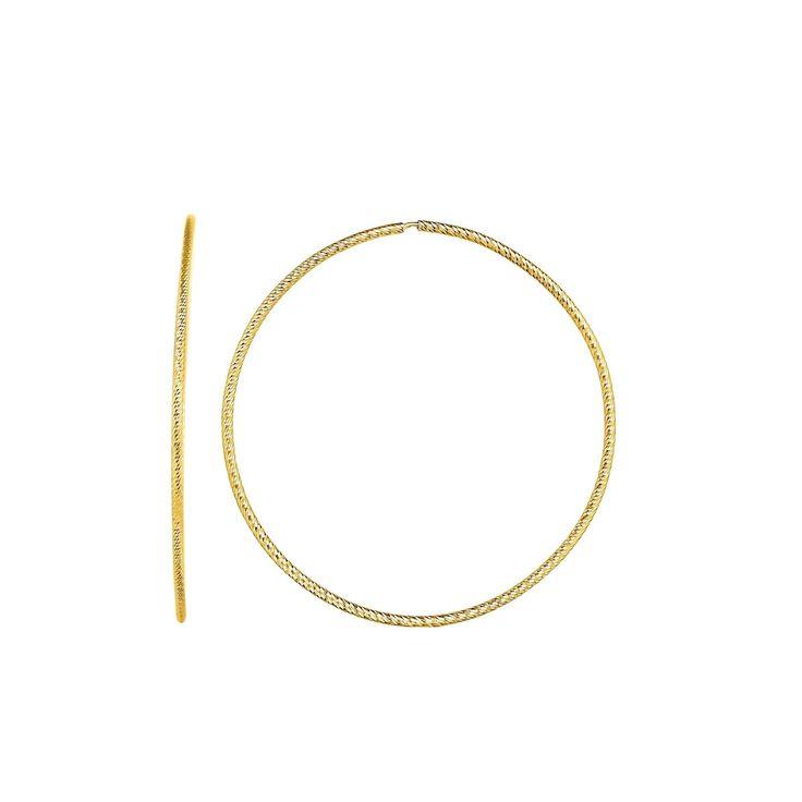 Karat Rushs 14kt Gold Round Tube Hoop Fancy Earrings, Women's