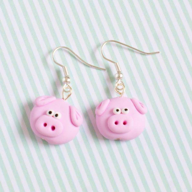 Ohrhänger - Schweinchen Fimo Ohrringe - ein Designerstück von happymanu bei DaWanda