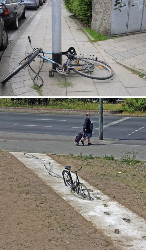 Unauthorized Installations: The Fine Art of Urban Subversion: Street art impossible bicycles