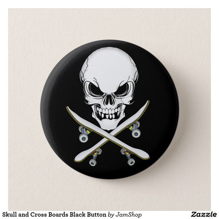 Skull and Cross Boards Black Button