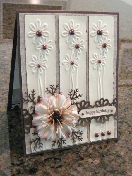 Gorgeous card made using the Cuttlebug and Embossing Folder, + seveal punches.  ♥ the white and brown colours, with a beautiful peach pastel flower