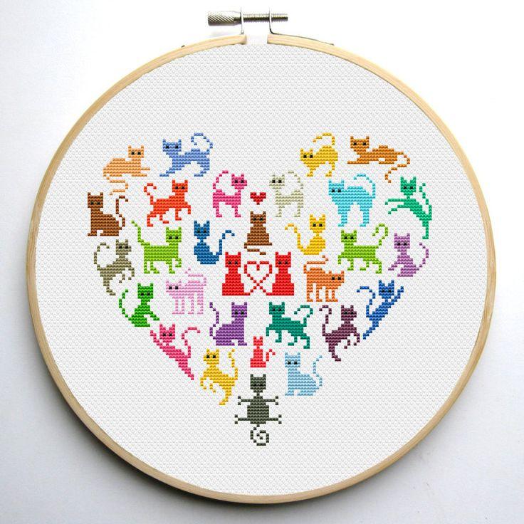 Corazón y 2 gatos punto de cruz patrón por CrossStitchForYou