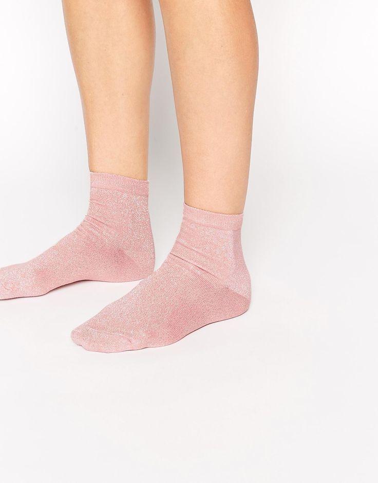 ASOS Pink Metallic Ankle Socks