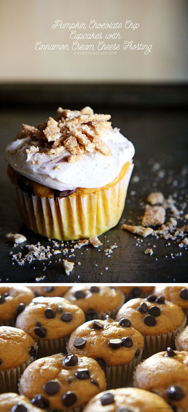 Pumpkin Chocolate Chip Cupcake Recipe with Cinnamon Cream Cheese Frosting