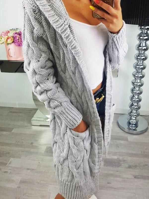 ea65d4cfd Long hooded open front solid color knitted sweater cardigan ...
