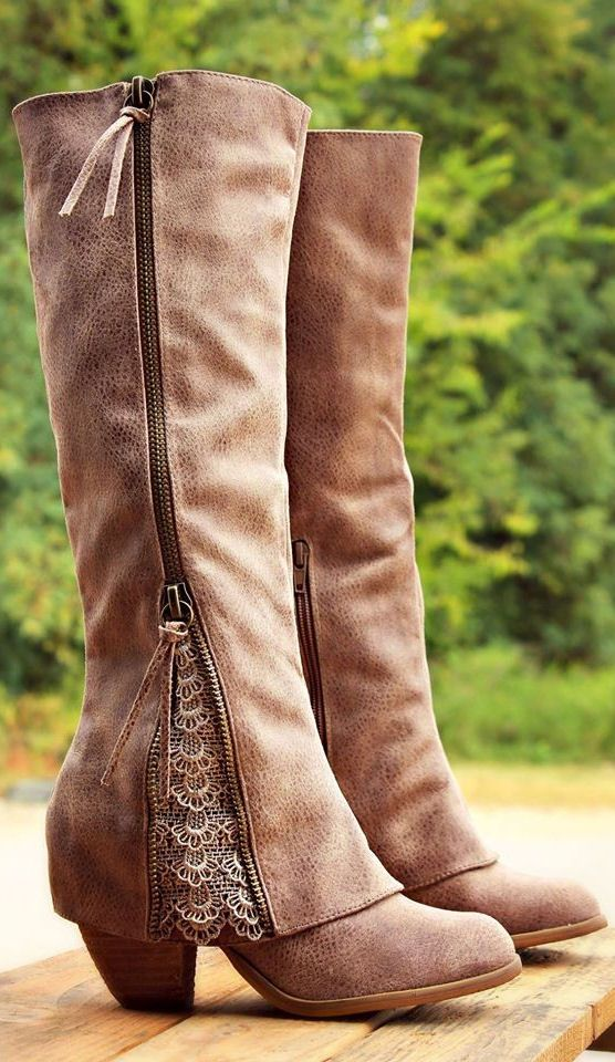 Leather Zipper Lace Boots