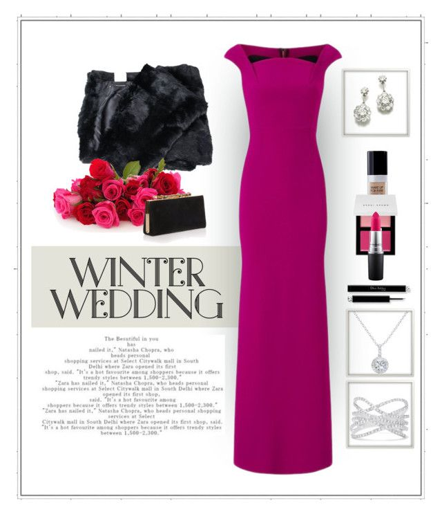 """""""Winter Wedding"""" by patricia-dimmick ❤ liked on Polyvore featuring Atos Lombardini, EWA, Bobbi Brown Cosmetics, Roland Mouret, MAC Cosmetics, Effy Jewelry, Jimmy Choo, gown and winterwedding"""