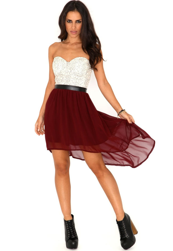 Marle Bandeau Lace Asymmetric Dress In Burgundy. my perfect dress for christmas :D