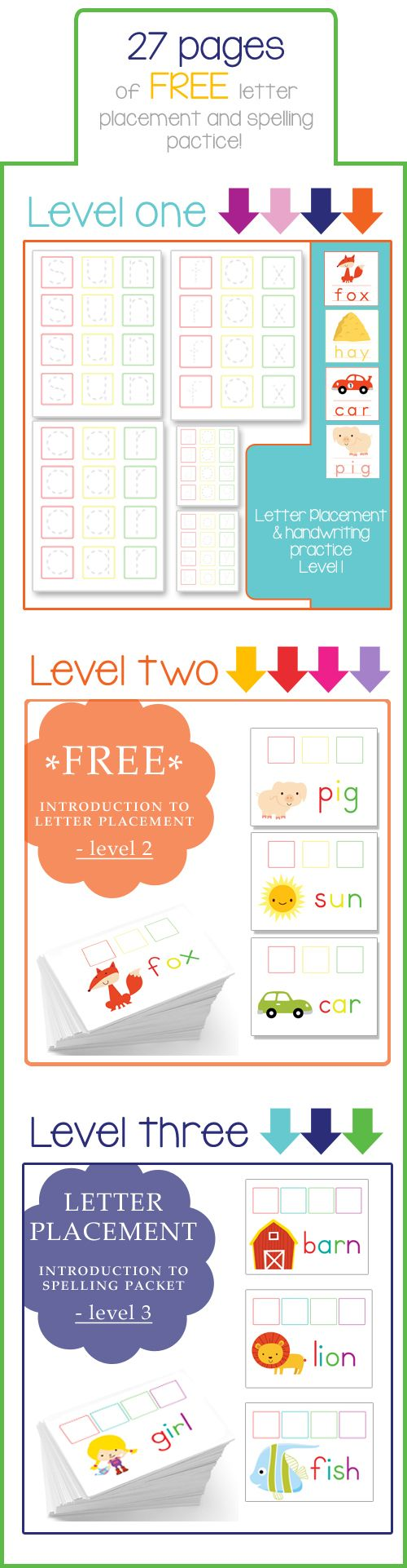 Teaching Letter Placement–Free Printable(s) !!! I created these 3 and 4 letter word pages to help him. There are three levels (27 pages total!)
