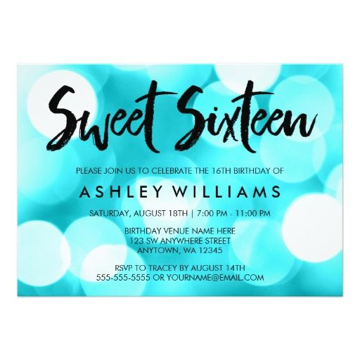Modern Teal Glitter Lights Sweet 16 Invitations