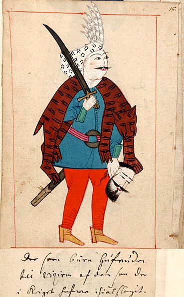 "Soldier carrying the head of a slain enemy to the vizir  ""De som bära hufvuden till viziren af dem som de i kriget hafver ihiälslagit"".  The 'Rålamb Costume Book' is a small volume containing 121 miniatures in Indian ink with gouache and some gilding, displaying Turkish officials, occupations and folk types. They were acquired in Constantinople in 1657-58 by Claes Rålamb who led a Swedish embassy to the Sublime Porte, and arrived in the Swedish Royal Library / Manuscript Department in 1886."