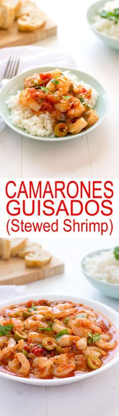 Camarones Guisados - juicy shrimp stewed in a Puerto Rican-style tomato sauce. Loaded with garlic, onions and cilantro, no sofrito needed! | Kitchen Gidget