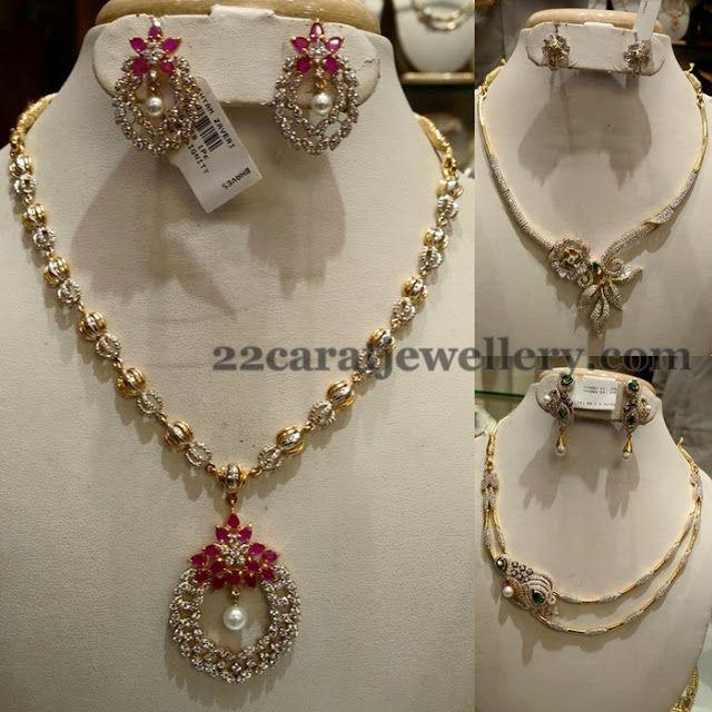 Jewellery Designs: Very Simple CZ Fancy Necklaces