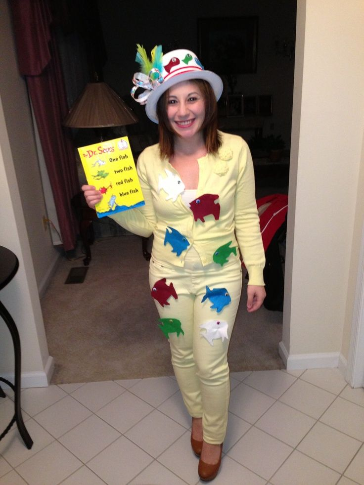 Dr. Seuss Homemade Costumes | Dr Seuss one fish two fish homemade costume | Activities to go with C ...