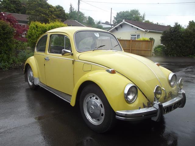Lot 2 - A 1972 Volkswagen Beetle 1300, registration number YMW 423K, yellow.