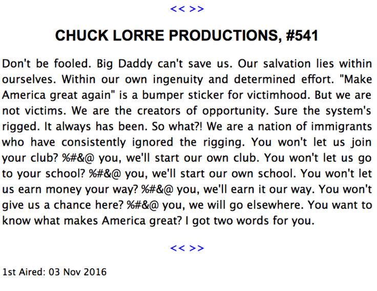 Chuck Lorre Vanity Card