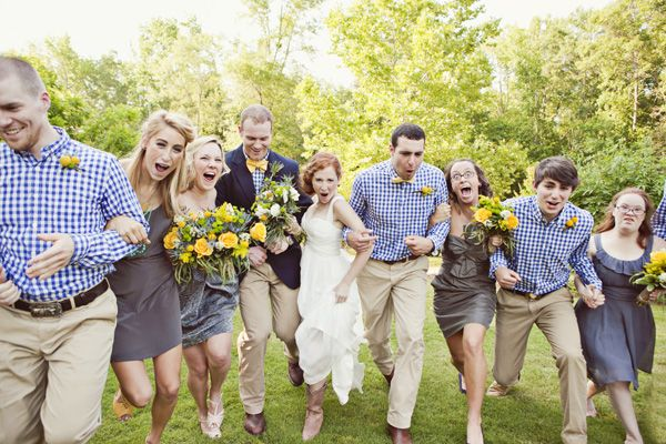 Blue and yellow gingham wedding in Georgia.